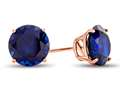 Finejewelers 10k Rose Gold 7mm Round Created Blue Sapphire Stud Earrings