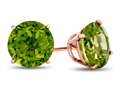 Finejewelers 14k Rose Gold 7mm Round Peridot Post-With-Friction-Back Stud Earrings