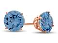 Finejewelers 14k Rose Gold 7mm Round Simulated Aquamarine Post-With-Friction-Back Stud Earrings