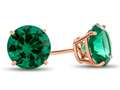 Finejewelers 10k Rose Gold 7mm Round Simulated Emerald Post-With-Friction-Back Stud Earrings