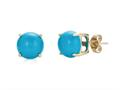 Finejewelers 10k White Gold 7mm Round Compressed Turquoise Stud Earrings