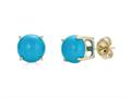 Finejewelers 14k Yellow Gold 7mm Round Compressed Turquoise Stud Earrings