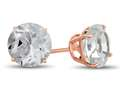 Finejewelers 14k Rose Gold 7mm Round White Topaz Post-With-Friction-Back Stud Earrings