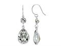 Color Craft™ 14x10mm Pear Shape with 6mm Round Clear Genuine Swarovski Crystals Drop Ear Wire Earrings