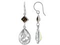 Color Craft™ 14x10mm Pear Shape Clear with 5mm Square Smoky Color Genuine Swarovski Crystals Drop Ear Wire Earrings