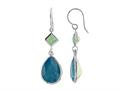 Color Craft™ 14x10mm Pear Shape Caribbean with 5mm Square Opal Color Genuine Swarovski Crystals Drop Ear Wire Earrings