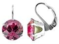 Color Craft™ 10.5mm Round Rose Color Genuine Swarovski Crystal Lever Back Earrings