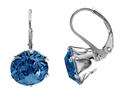 Color Craft™ 10.5mm Round Genuine Swarovski Crystal Sapphire Color Lever Back Earrings