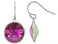 Color Craft™ 14mm Round Fuchsia Genuine Swarovski Crystal Drop Ball Ear Wire Earrings