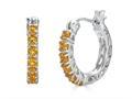 Finejewelers Sterling Silver Citrine Small Hoop Earrings