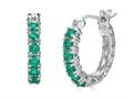 Finejewelers Sterling Silver Created Emerald Small Hoop Earrings