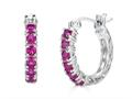 Finejewelers Sterling Silver Created Ruby Huggie Small Hoop Earrings