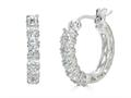 Finejewelers Sterling Silver Created White Sapphire Small Hoop Earrings
