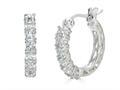 Finejewelers Sterling Silver Created White Sapphire Huggie Small Hoop Earrings