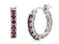 Finejewelers Sterling Silver Garnet Small Hoop Earrings
