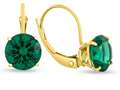 7x7mm Round Simulated Emerald Lever-back Earrings
