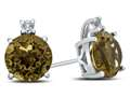10k White Gold 7mm Round Citrine with White Topaz Earrings