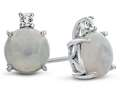 10k White Gold 7mm Round Created Opal with White Topaz Earrings