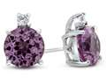 10k White Gold 7mm Round Created Pink Sapphire with White Topaz Earrings