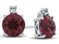 Finejewelers 10k White Gold 7mm Round Created Ruby with White Topaz Earrings