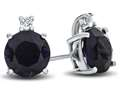 Finejewelers 10k White Gold 7mm Round Created Blue Sapphire with White Topaz Earrings
