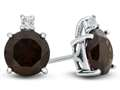 10k White Gold 7mm Round Garnet with White Topaz Earrings