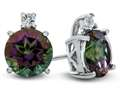 10k White Gold 7mm Round Mystic Topaz with White Topaz Earrings
