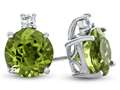 10k White Gold 7mm Round Peridot with White Topaz Earrings