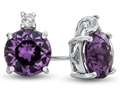 10k White Gold 7mm Round Simulated Alexandrite with White Topaz Earrings