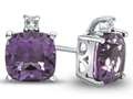 10k White Gold 7mm Cushion Amethyst with White Topaz Earrings