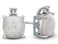 10k White Gold 7mm Cushion Created Opal with White Topaz Earrings