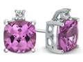 10k White Gold 7mm Cushion Created Pink Sapphire with White Topaz Earrings