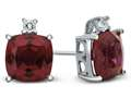 Finejewelers 10k White Gold 7mm Cushion Created Ruby with White Topaz Earrings