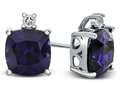 10k White Gold 7mm Cushion Created Sapphire with White Topaz Earrings