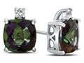 10k White Gold 7mm Cushion Mystic Topaz with White Topaz Earrings