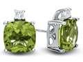 10k White Gold 7mm Cushion Peridot with White Topaz Earrings