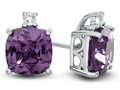10k White Gold 7mm Cushion Simulated Alexandrite with White Topaz Earrings