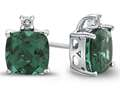 Finejewelers 10k White Gold 7mm Cushion Simulated Emerald with White Topaz Earrings