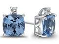10k White Gold 7mm Cushion Swiss Blue Topaz with White Topaz Earrings