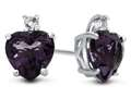 10k White Gold 7mm Heart Shaped Amethyst with White Topaz Earrings