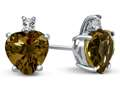 10k White Gold 7mm Heart Shaped Citrine with White Topaz Earrings