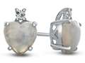 10k White Gold 7mm Heart Shaped Created Opal with White Topaz Earrings