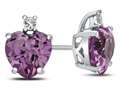 10k White Gold 7mm Heart Shaped Created Pink Sapphire with White Topaz Earrings