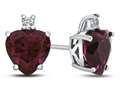 10k White Gold 7mm Heart Shaped Created Ruby with White Topaz Earrings