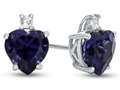 10k White Gold 7mm Heart Shaped Created Sapphire with White Topaz Earrings