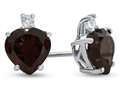 10k White Gold 7mm Heart Shaped Garnet with White Topaz Earrings