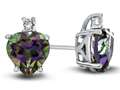 10k White Gold 7mm Heart Shaped Mystic Topaz with White Topaz Earrings