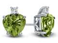 10k White Gold 7mm Heart Shaped Peridot with White Topaz Earrings