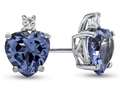 Finejewelers 10k White Gold 7mm Heart Shaped Simulated Aquamarine with White Topaz Earrings