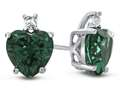 10k White Gold 7mm Heart Shaped Simulated Emerald with White Topaz Earrings